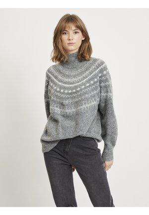 OBJSTONE - Strikkegenser - medium grey melange