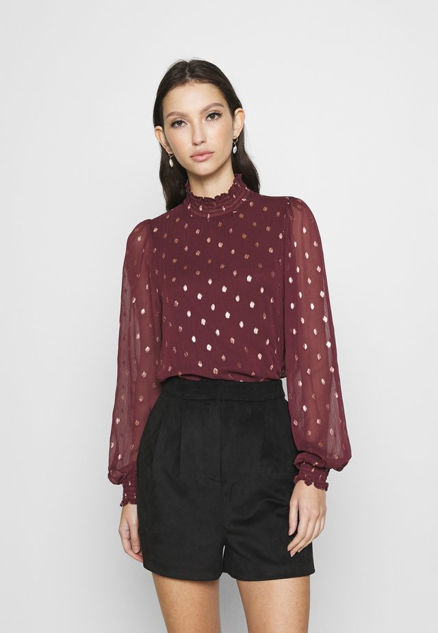 ONLISABELLA HIGHNECK - Blouse - port royale/dot/gold