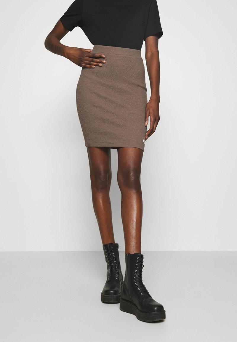 Calvin Klein Jeans - SLUB MINI SKIRT - Pencil skirt - dusty brown