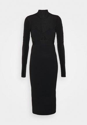 LONG SLEEVE CORSET DRESS - Vestido de punto - black