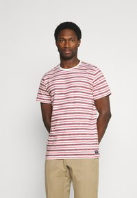 TOM TAILOR - STRIPED - T-shirt con stampa - powerful red - 0