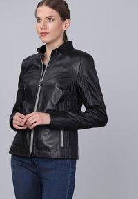 Basics and More - Leather jacket - black - 5