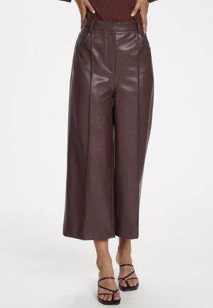 SLPATRICE  - Pantalon en cuir - rum raisin