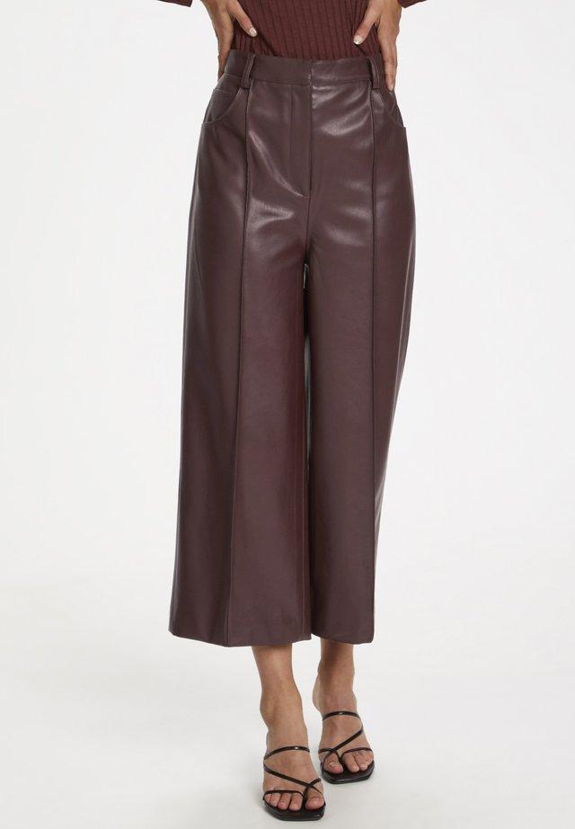 SLPATRICE  - Spodnie skórzane - rum raisin
