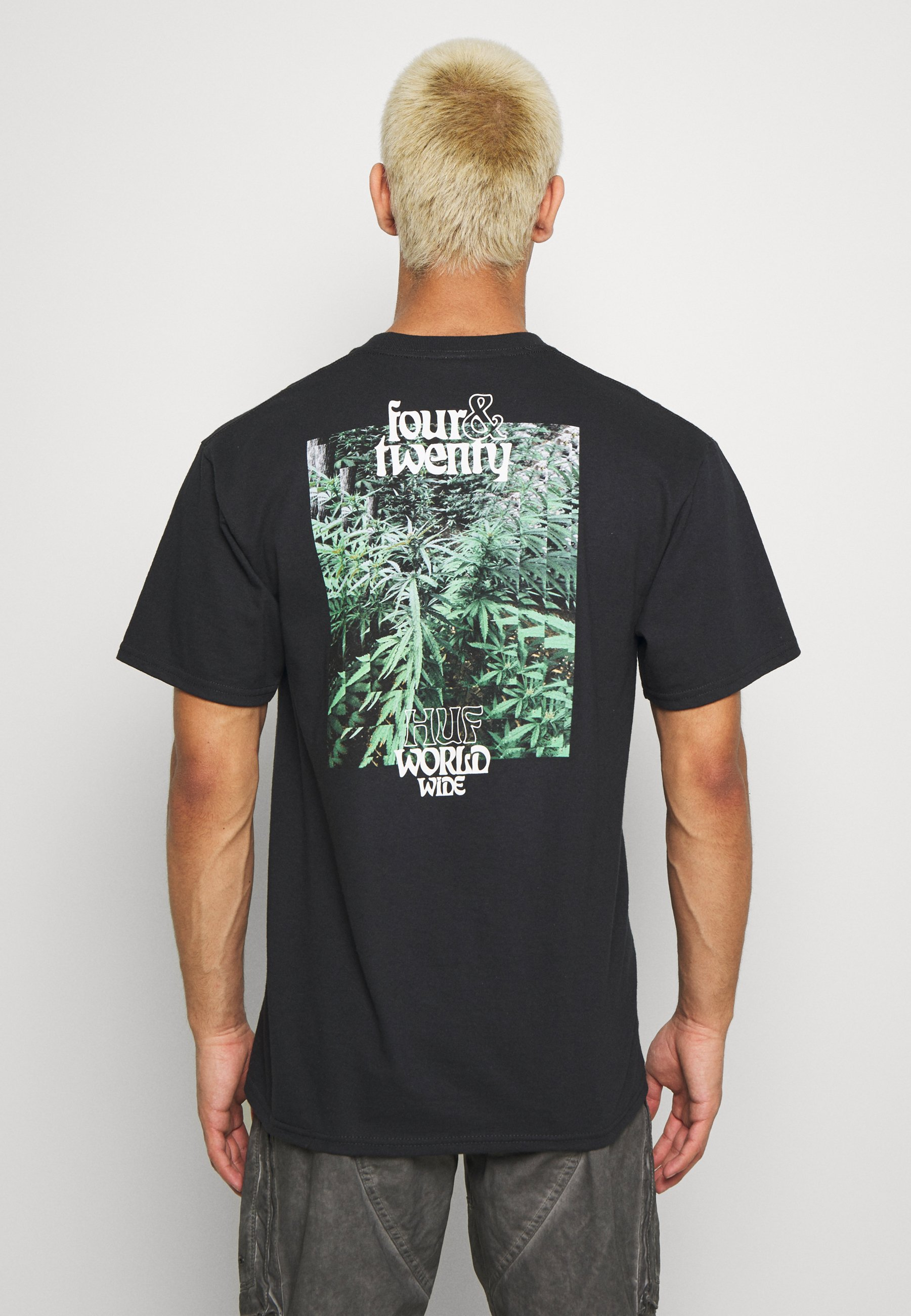 HUF FOUR AND TWENTY TEE - T-shirts med print - black