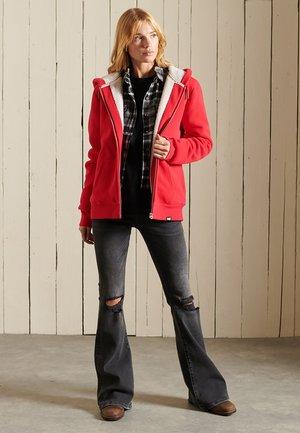 BORG LINED - Zip-up sweatshirt - campus red