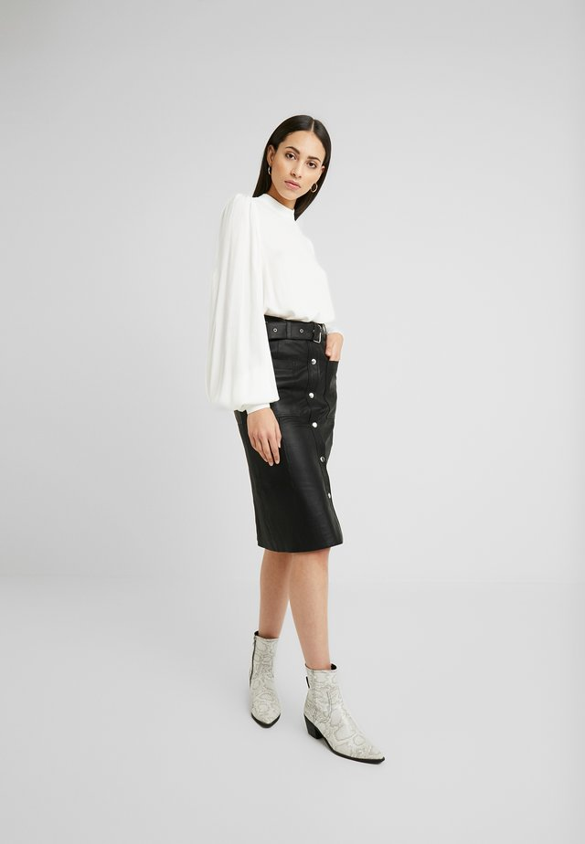 ANDREA SKIRT - Leather skirt - black