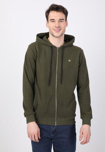 Zip-up hoodie - khaki/yellow