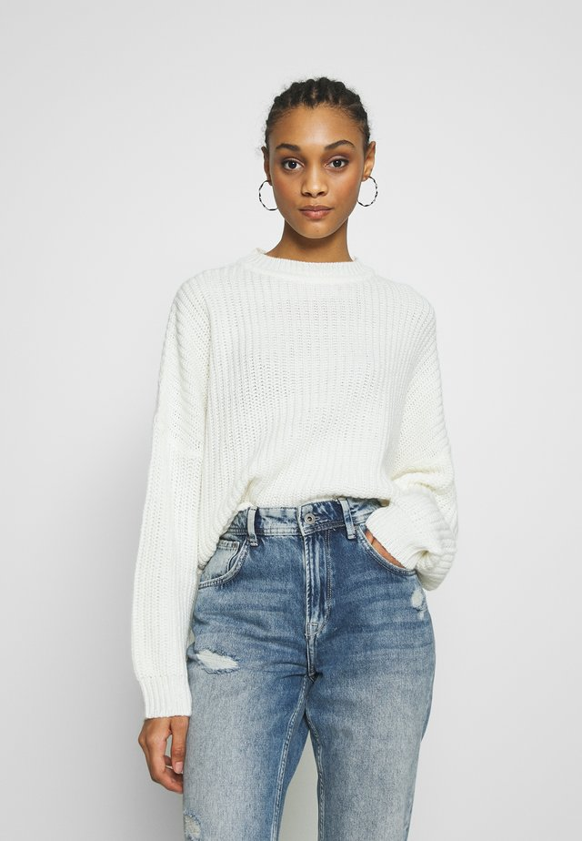 BASIC- chunky banana sleeve jumper - Stickad tröja - white