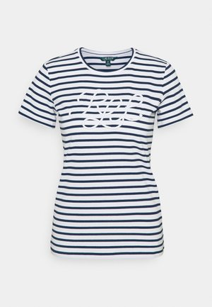 REFINED  - Print T-shirt - white/lauren navy
