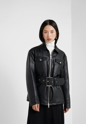BELTED FAUX LEATHER JACKET - Kožená bunda - black