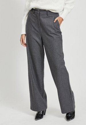 HIGH WAIST WOLL - Trousers - medium grey melange