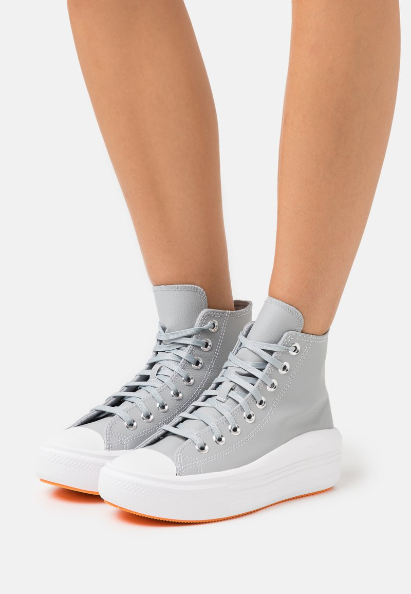 Converse - CHUCK TAYLOR MOVE PLATFORM - High-top trainers - ash stone/flash orange/white