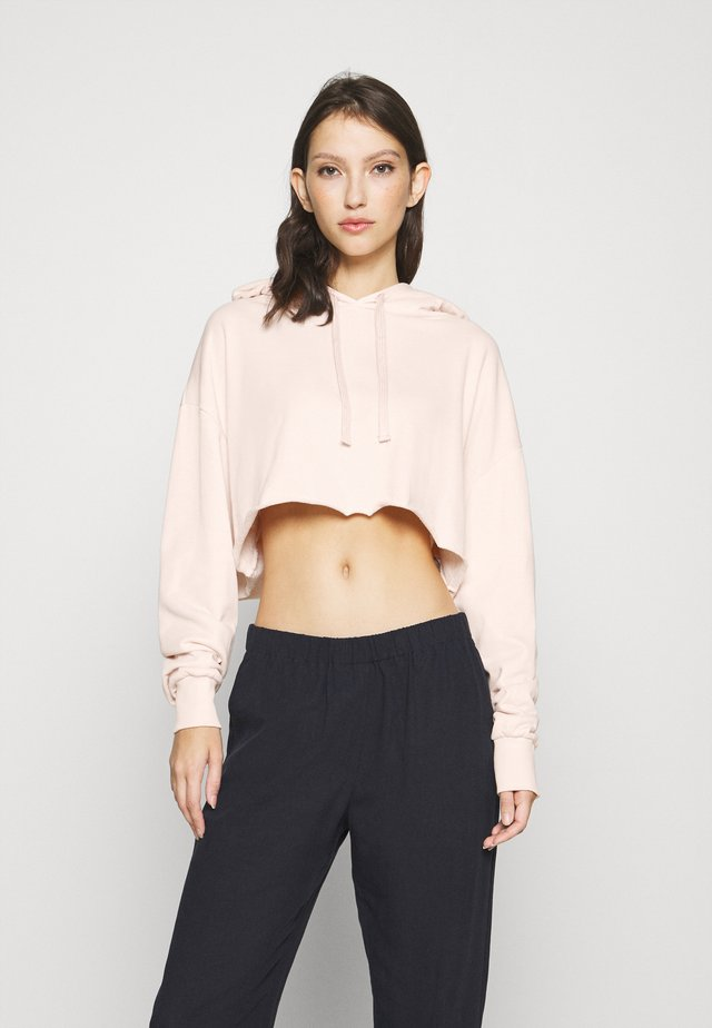 RAW HEM CROPPED HOODIE - Sweatshirt - pink