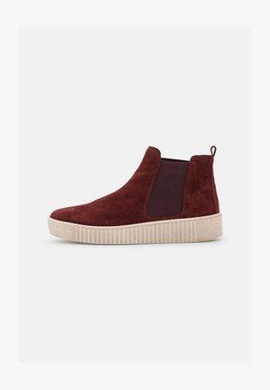 Kotníkové boty na platformě - dark red/beige