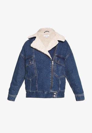 SLOUCHY BORG BIKER - Denim jacket - blue denim