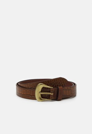 VINTAGE CROCODILE EMBOSS BELT - Pásek - dark brown