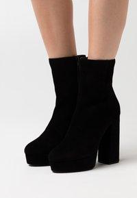 Even&Odd - LEATHER - Kotníková obuv na vysokém podpatku - black - 0