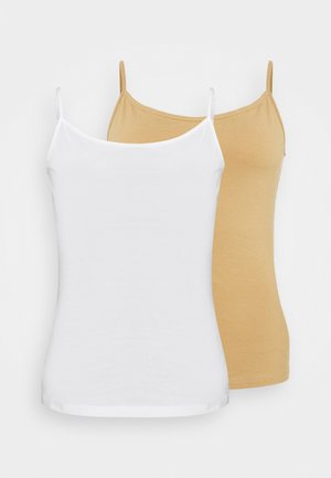 2 PACK - Top - white/tan