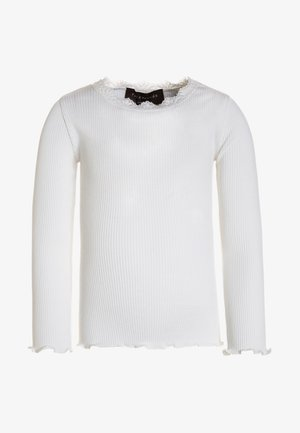 SILK-MIX T-SHIRT REGULAR LS W/LACE - Top s dlouhým rukávem - new white