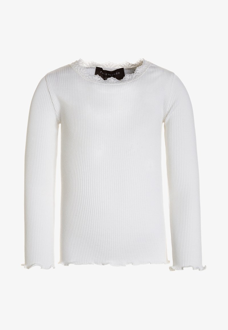 Rosemunde - SILK-MIX T-SHIRT REGULAR LS W/LACE - Top sdlouhým rukávem - new white