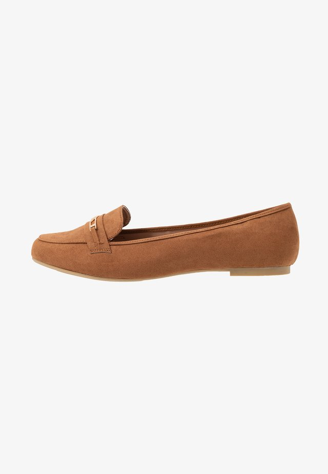 WIDE FIT LAFFLE TRIM - Loafers - tan