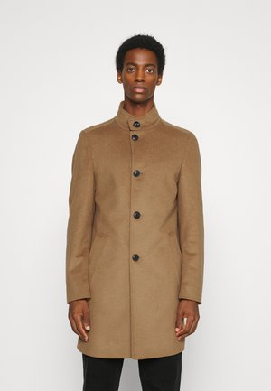 SOLID STAND UP COLLAR COAT - Classic coat - brown