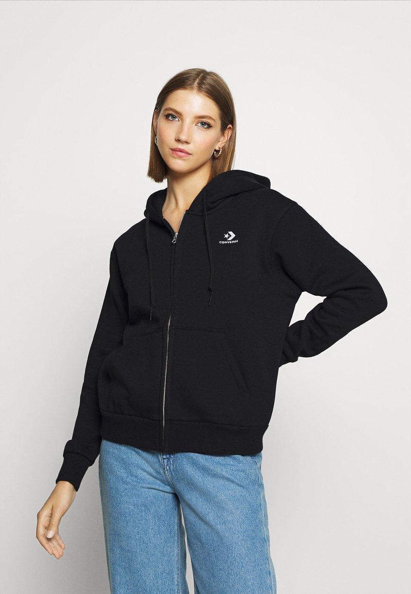 Converse - WOMENS FOUNDATION FULL ZIP HOODIE - Zip-up sweatshirt - black