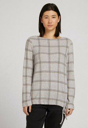 MIT TUNNELZUG - T-shirt à manches longues - grey melange check