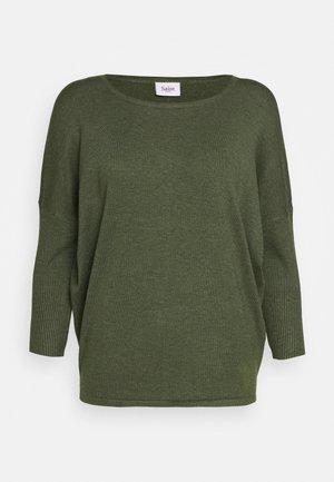 MILA NECK - Strikkegenser - army green melange