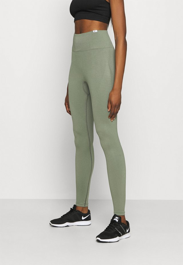 SEAMLESS DAMEN BLOOM - Trikoot - olive