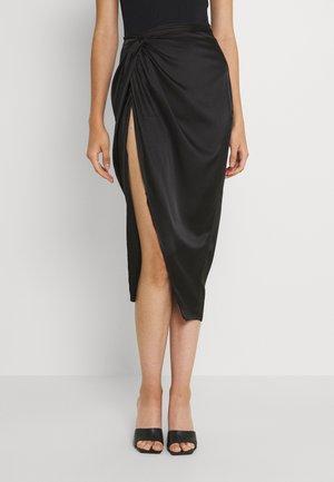 FRONT SPLIT MIDAXI SKIRT - Pouzdrová sukně - black