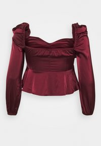 Missguided Plus - PUFF SLEEVE RUCHED FRONT PEPLUM - Blouse - wine - 1