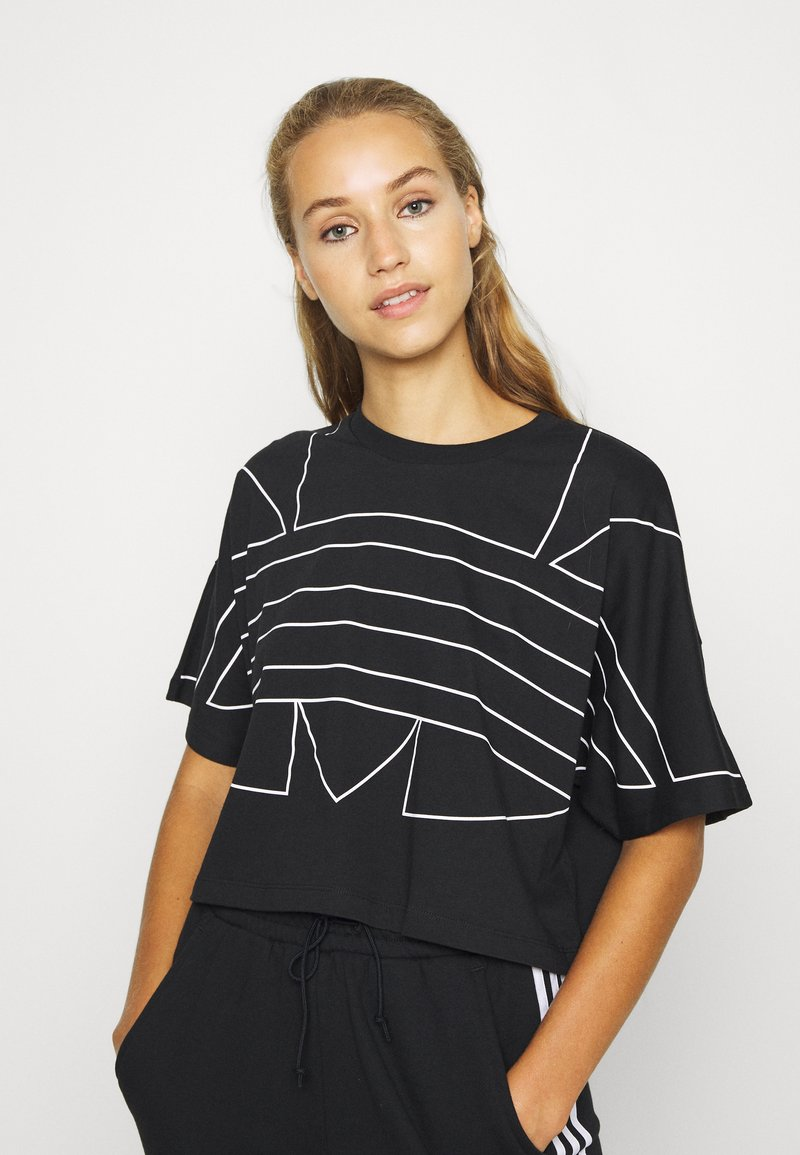 adidas Originals - LOGO TEE - T-shirts print - black/white
