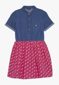 Guess - JUNIOR MIXED FABRIC SLEEVES DRESS - Denim dress - vintage dark blue - 0