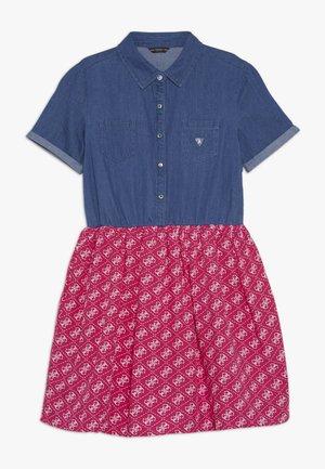 JUNIOR MIXED FABRIC SLEEVES DRESS - Denim dress - vintage dark blue