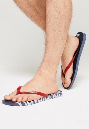 LOGOMANIA HIGHTECH UNISEX - T-bar sandals - navy blue
