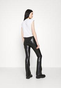 Topshop - CROC FLARE - Trousers - black - 2