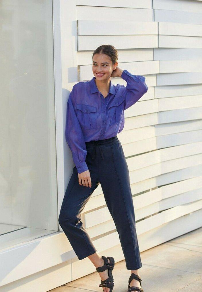 Next - Button-down blouse - blue-grey