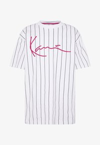 Karl Kani - SIGNATURE PINSTRIPE TEE - Print T-shirt - white/black/red - 4