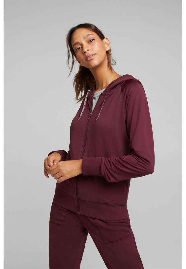 veste en sweat zippée - bordeaux red
