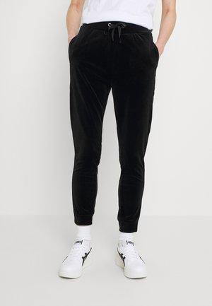 VELVET SLIM FIT JOGGERS - Teplákové kalhoty - black