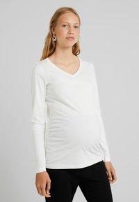 MAMALICIOUS - MLANNIA 2 PACK  - Camiseta de manga larga - snow white/dark grey melange - 0