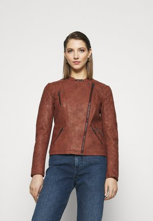 ONLAVA BIKER  - Faux leather jacket - fired brick