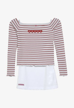 GIRLS RINGEL HAPPY 2-IN1 - T-shirt à manches longues - weiss/rosa/rot