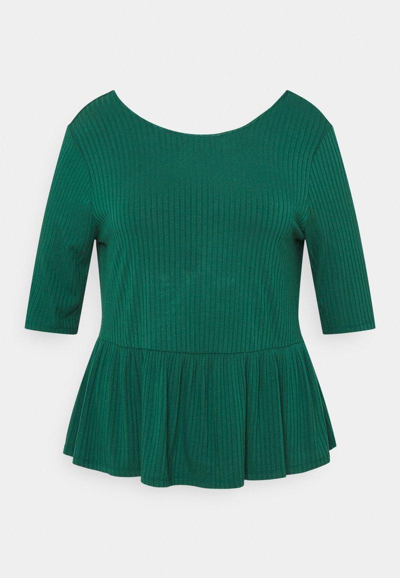 CAPSULE by Simply Be - PEPLUM HEM - Long sleeved top - palm green
