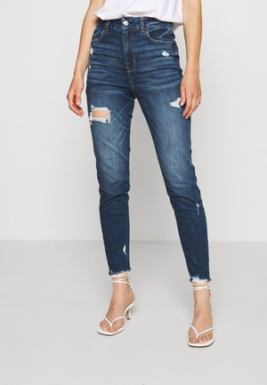 CURVY SUPER HIGH RISE CROP - Vaqueros slim fit - dark-blue denim