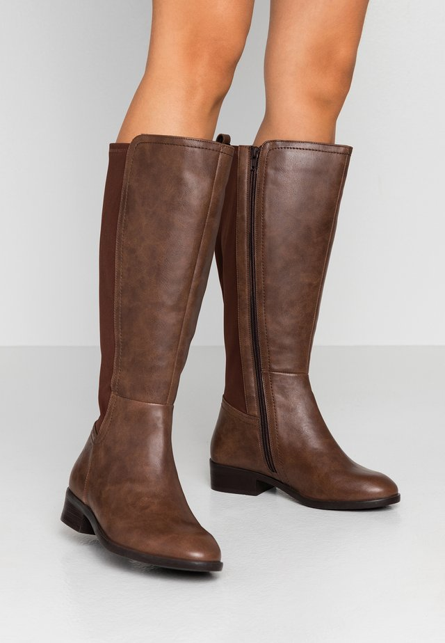 WIDE FIT DIXIE STRETCH BACK KNEE HIGH BOOT - Støvler - brown