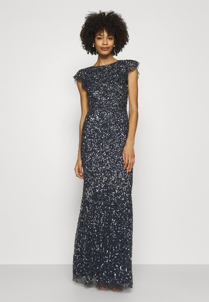 ALL OVER SEQUIN WITH FLUTTER SLEEVE - Suknia balowa - navy