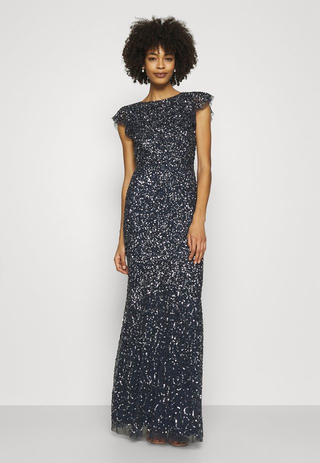 ALL OVER SEQUIN WITH FLUTTER SLEEVE - Robe de cocktail - navy